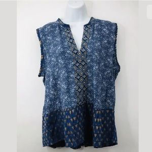 Lucky Brand Blue Floral Printed Top Boho Blouse